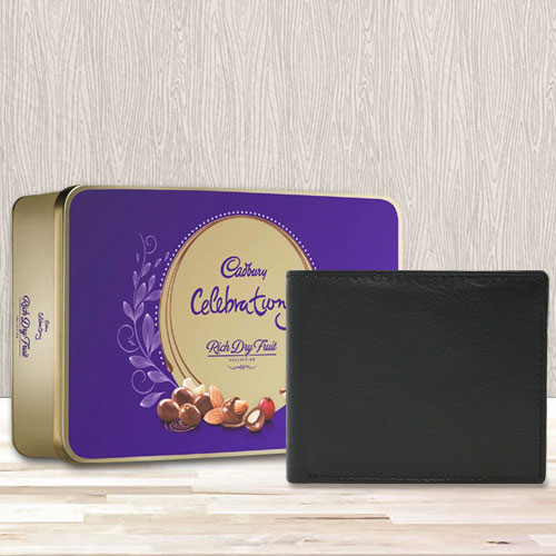 Marvelous Black Leather Wallet with a Cadbury Rich Dry Fruits Chocolate