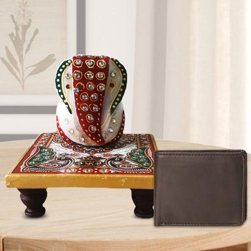 Stylish Ganesh Marble Chowki with a Leather Wallet for Gents