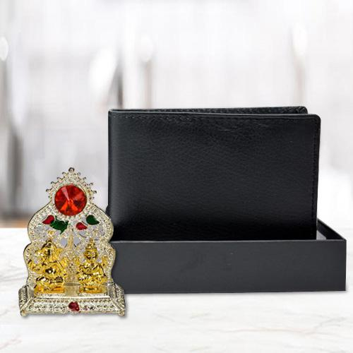 Attractive Ganesh Laxmi Mandap with a Black Wallet for Gents