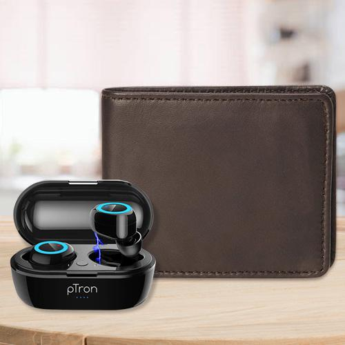 Smart Mens Leather Wallet with PTron Bluetooth Earbuds
