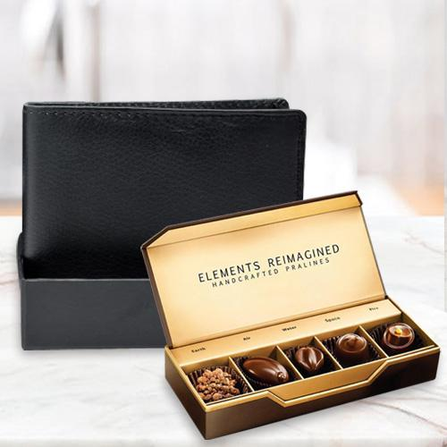 Graceful Rich Borns Black Leather Wallet with ITC Elements Premium Handcrafted Chocolates