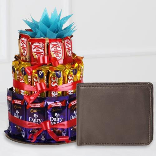 Extraordinary Leather Wallet for Boys with a 3 Tier Chocolate Arrangement