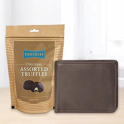 Rich Borns Gents Wallet with Tasteful Assorted Truffle Chocolates