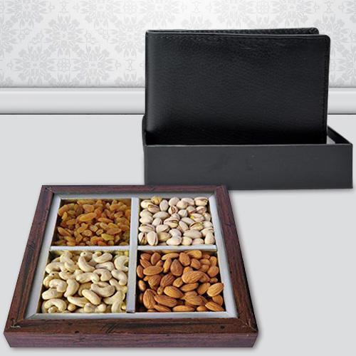 Remarkable Gents Leather Wallet with Dry Fruits