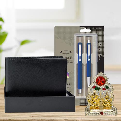Stylish Parker Pen Set with a Rich Borns Black Leather Wallet n Laxmi Ganesh Mandap