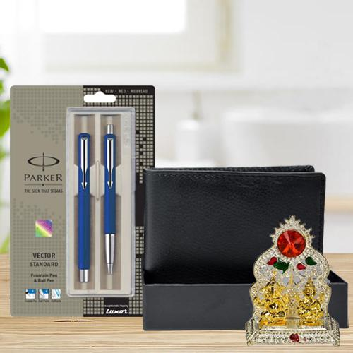 Trendsetting Parker Pen Set with a Rich Borns Black Leather Wallet n Laxmi Ganesh Mandap