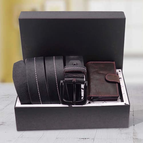 Alluring Hide and Skin Mens Leather Card Holder and Middle Stitch Belt