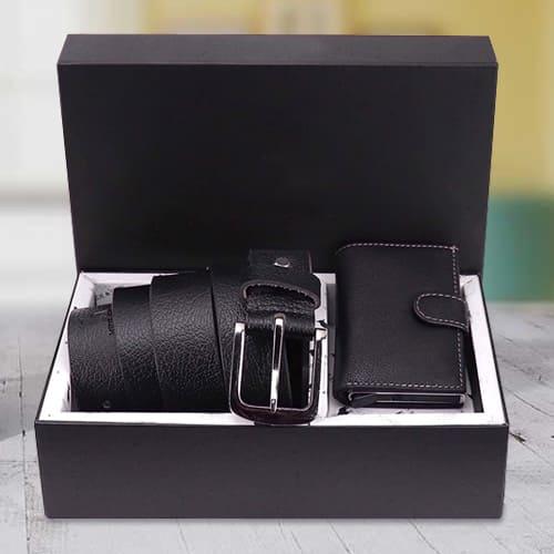 Stylish Hide and Skin Mens Leather Card Holder N Formal Belt