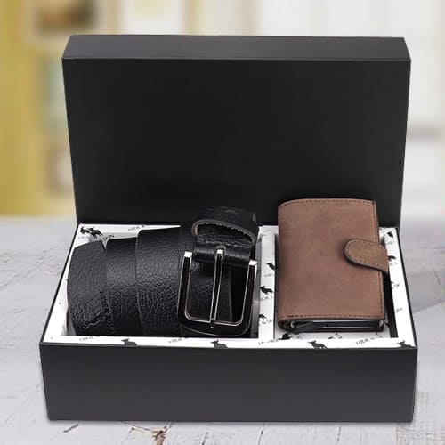 Outstanding Hide and Skin Mens Leather Card Holder and Formal Belt
