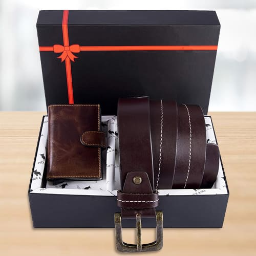 Outstanding Hide and Skin Mens Leather Card Holder, Belt N KN95 Mask