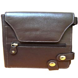 Marvelous Brown Leather Purse for Ladies with Security Clutches