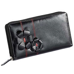 Marvelous Flowery styled Leather ladies Wallet in Black