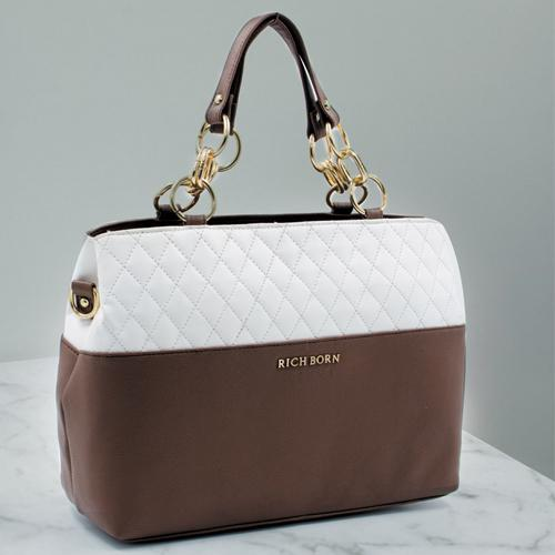 Impressive White N Brown Women Vanity Bag