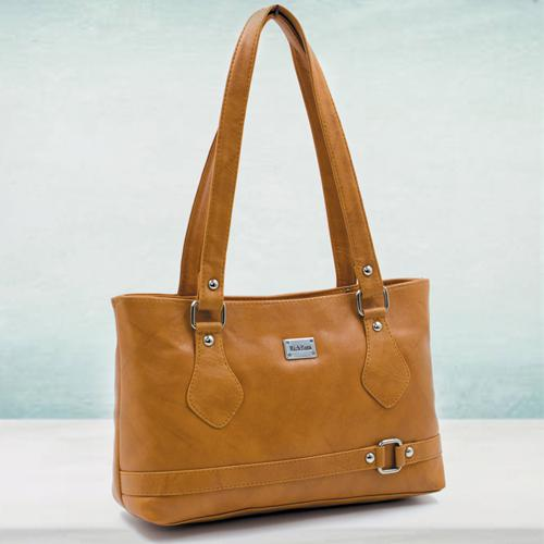 Stylish Tan Color Leather Vanity Bag for Her