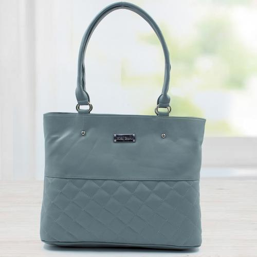 Attractive Gray Leather Vanity Bag for Ladies