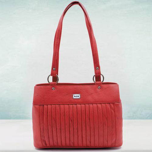 Admirable Red Color Leather Vanity Bag for Ladies