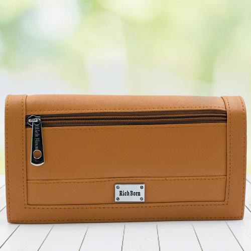 Alluring Tan Color Leather Vanity Bag for Women