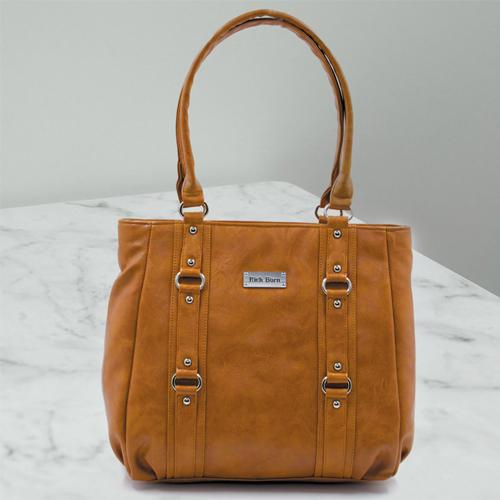 Attractive Womens Leather Vanity Bag in Tan Color