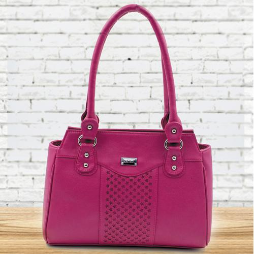 Marvelous Pink Color Leather Vanity Bag for Ladies