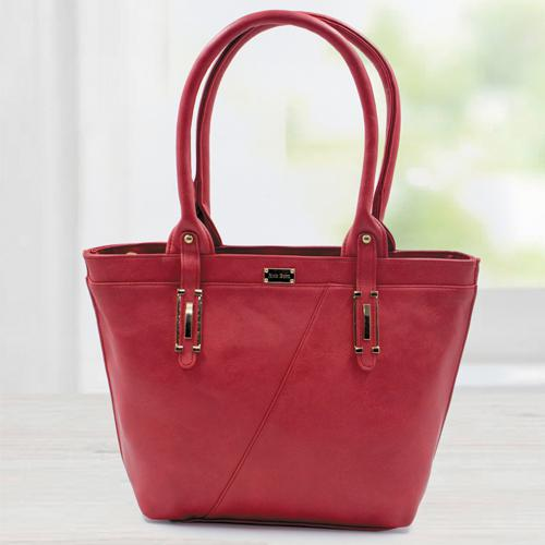 Stylish Red Color Leather Vanity Bag for Women