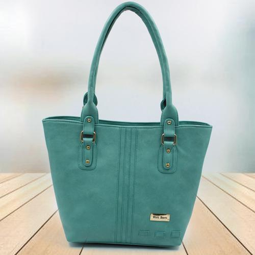 Lovely Sea Green Leather Vanity Bag for Ladies