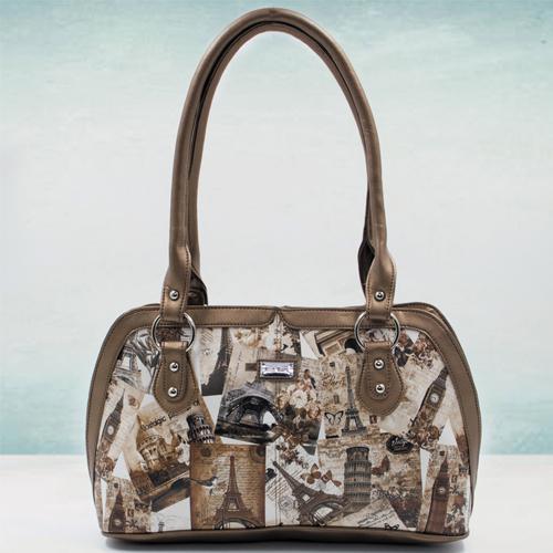 Wonderful Beige Color Leather Vanity Bag for Ladies