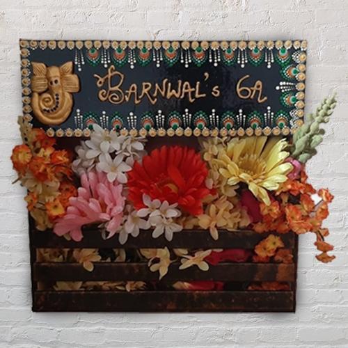 Stylish Handmade Dot Mandala Art Ganesha Nameplate with Art Flower Decor