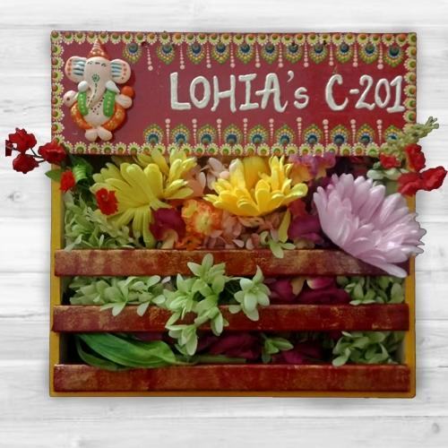Spectacular Handmade Dot Mandala Art Ganesha Personalized Nameplate with Art Flower Decor