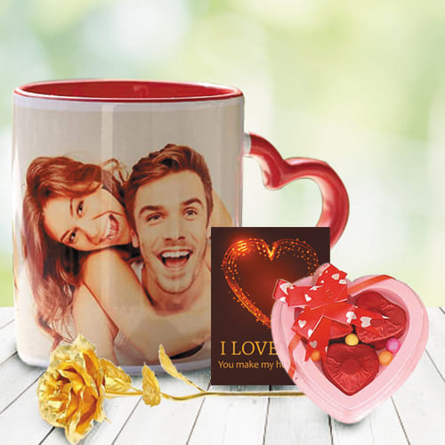 Alluring Personalized Photo Mug with Heart Chocolate N Rose