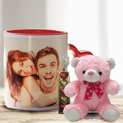 Stunning Personalized Photo Mug with Heart Chocolate N Red Teddy
