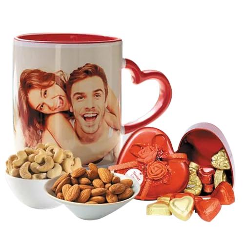 Mesmerizing Personalized Photo Mug n Heart Chocolates with Dry Fruits