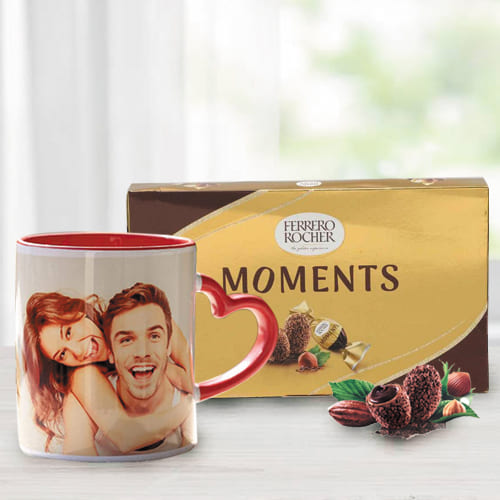 Lovely Personalized Photo Mug with Heart Handle n Ferrero Rocher