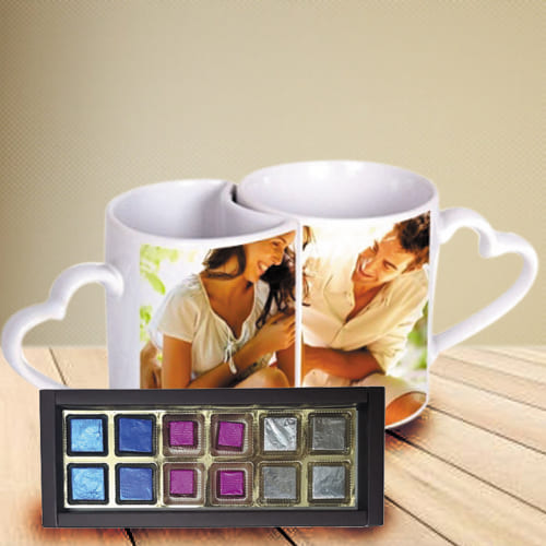 Fabulous Personalized Heart Handle Couple Mug with Handmade Fruity Chocolates