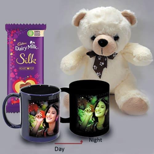 Striking Personalized Photo Radium Mug with Teddy n Heart Chocolates
