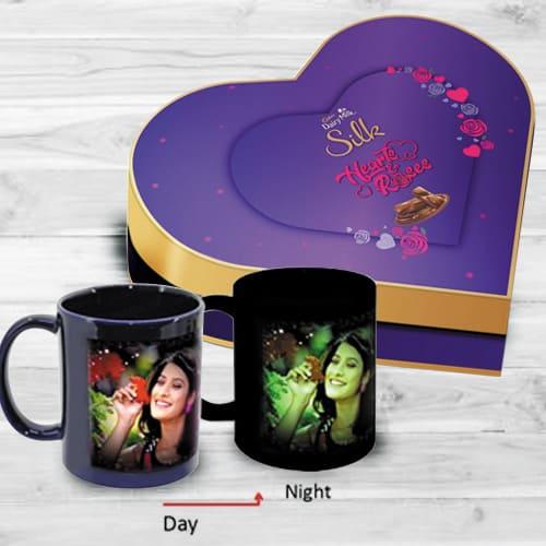 Amazing Personalized Photo Radium Mug n Heart Chocolate Box