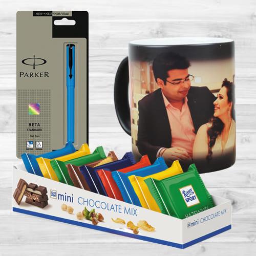 Beautiful Personalized Photo Magic Mug N Parker Pen with Mini Chocolates