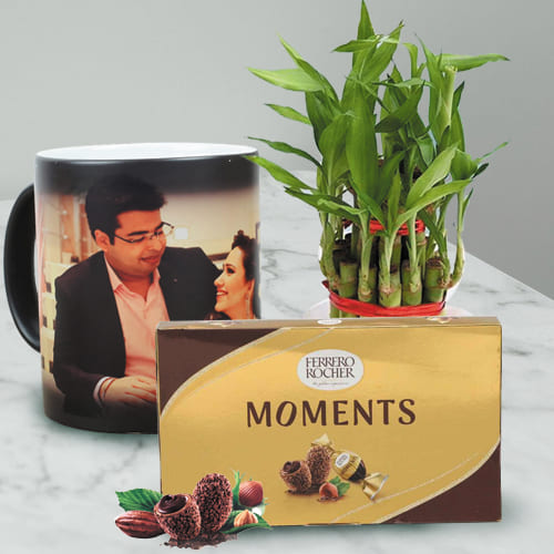 Lovely Personalized Photo Magic Mug with Ferrero Rocher N Bamboo Plant