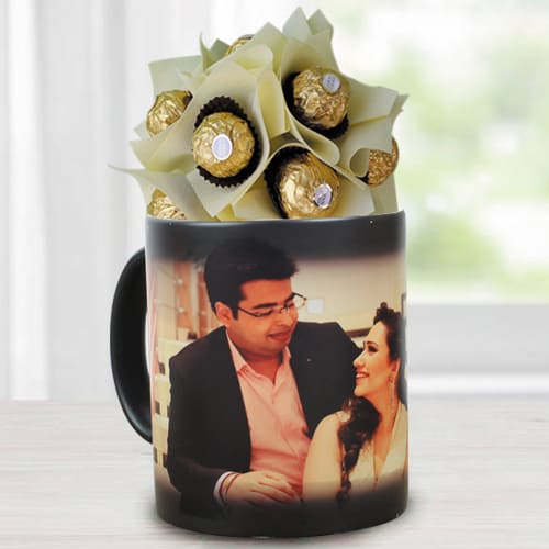 Amazing Ferrero Rocher Bouquet in Personalized Photo Magic Mug