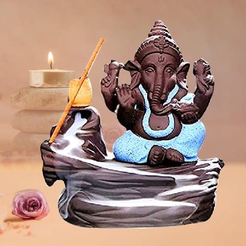 Auspicious Bal Ganesha Smoke Fountain Polyresin Showpiece