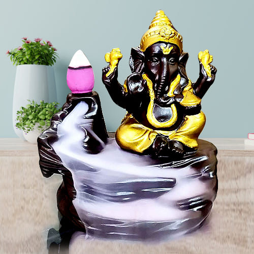 Impressive Lord Ganesh Smoke Backflow Cone Incense Showpiece