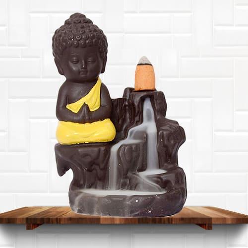 Pious Buddha Incense Smoke Burner Polyresin Fountain