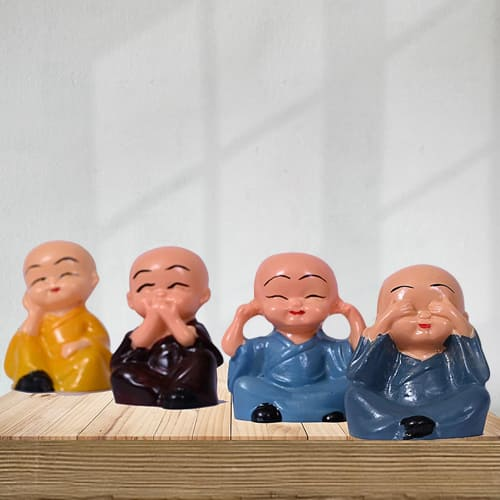 Pious Set of 4 Laughing Buddha Polyresin Statue