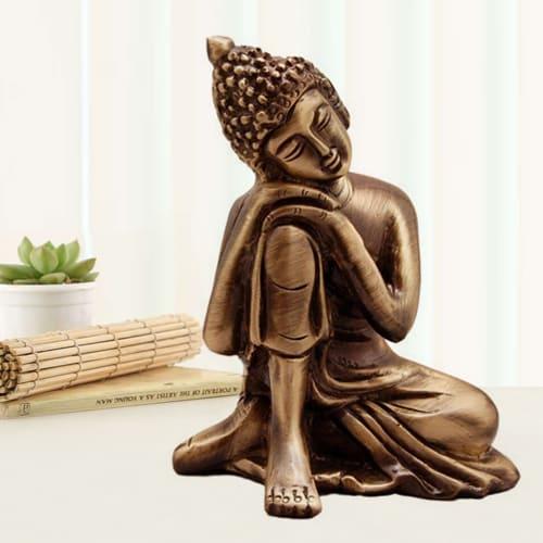 Creative Relaxing Buddha Metal Showpiece
