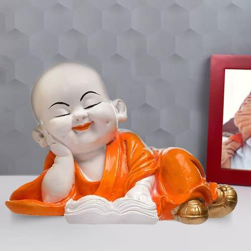 Admirable Gift of Monk Buddha Reading Book Polyresin Showpiece