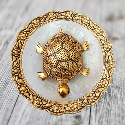 Exquisite Feng Shui Metal Tortoise On Plate