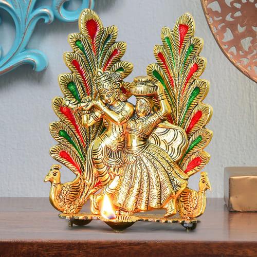 Auspicious Peacock Design Radha Krishna Statue with Diya