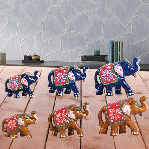 Marvelous Set of 6 Handmade Elephant Figurine