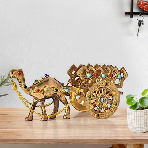 Classic Rajasthani Gemstone Studded Brass Camel with Antique Work