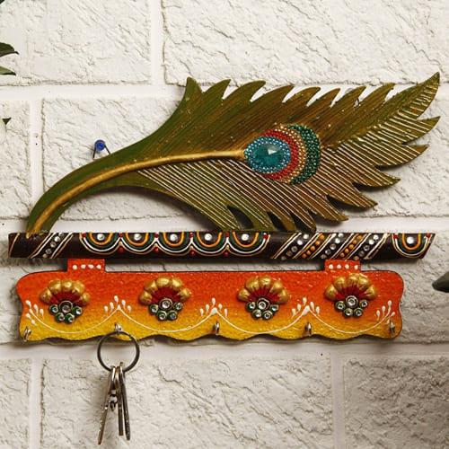 Creative Mor Pankhi Wooden Key Holder