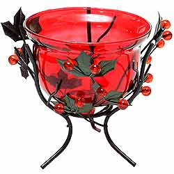 Marvelous Red Wrought Iron Candle Stand Gift